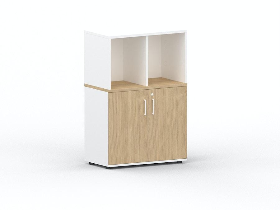 Opbergkast met deuren op bureelhoogte + box