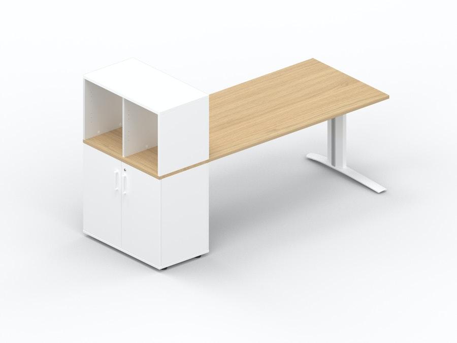 Rectangular desk K1 with storage cabinet