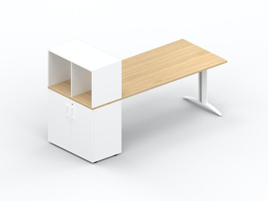 Rechthoekig bureau K2 met opbergkast