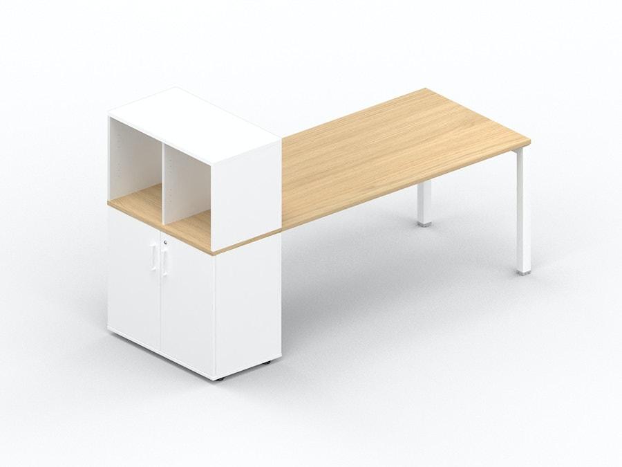 Rechthoekig bureau K3 met opbergkast