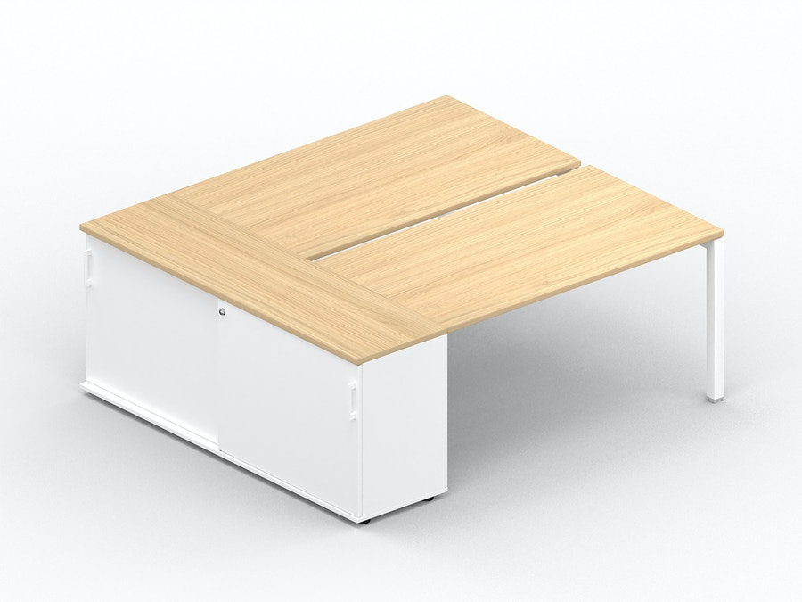 Bench bureau K7 met opbergkast met schuifdeuren