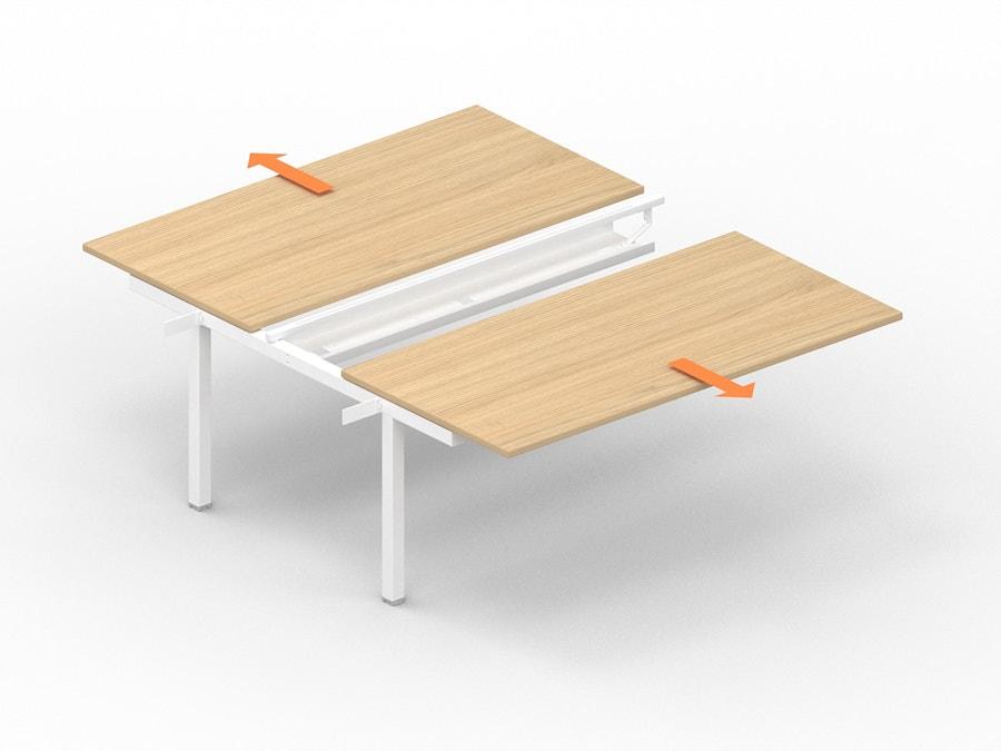 Aanbouw bench bureau met verschuifbaar werkblad K7