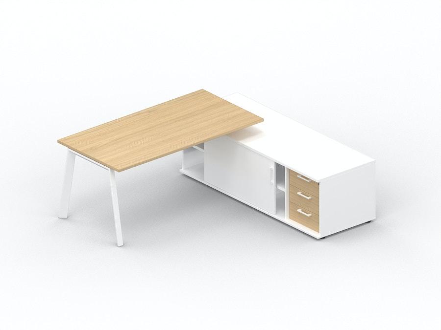 Bureau plan droit K8 sur meuble porteur