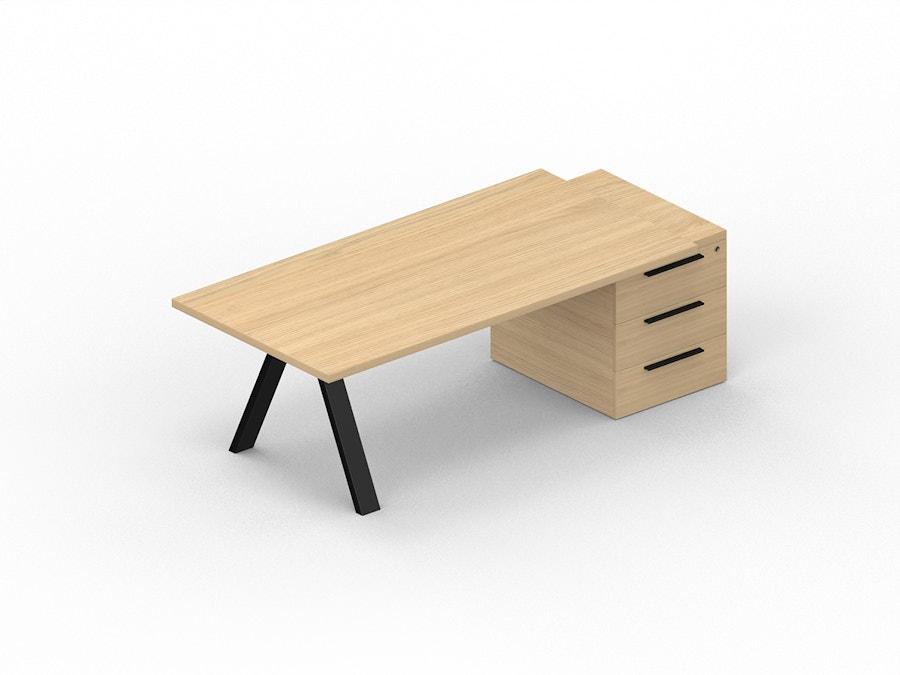 Rechthoekig bureau X3 op dragende ladeblok